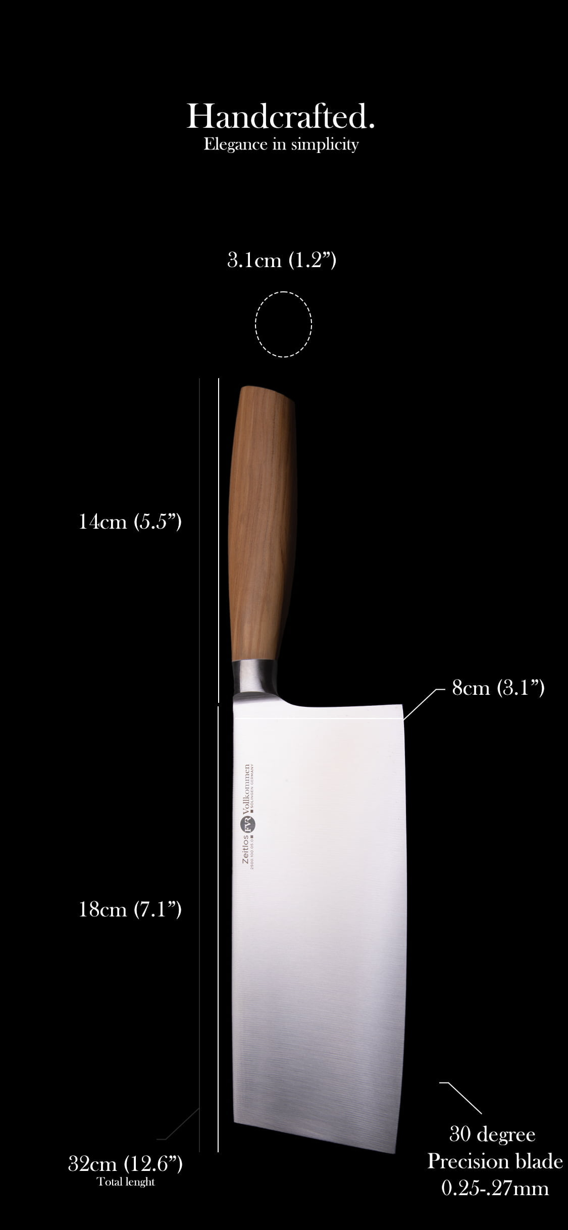 FVR Zeitlos Chinese Chef's Knife Dimensions