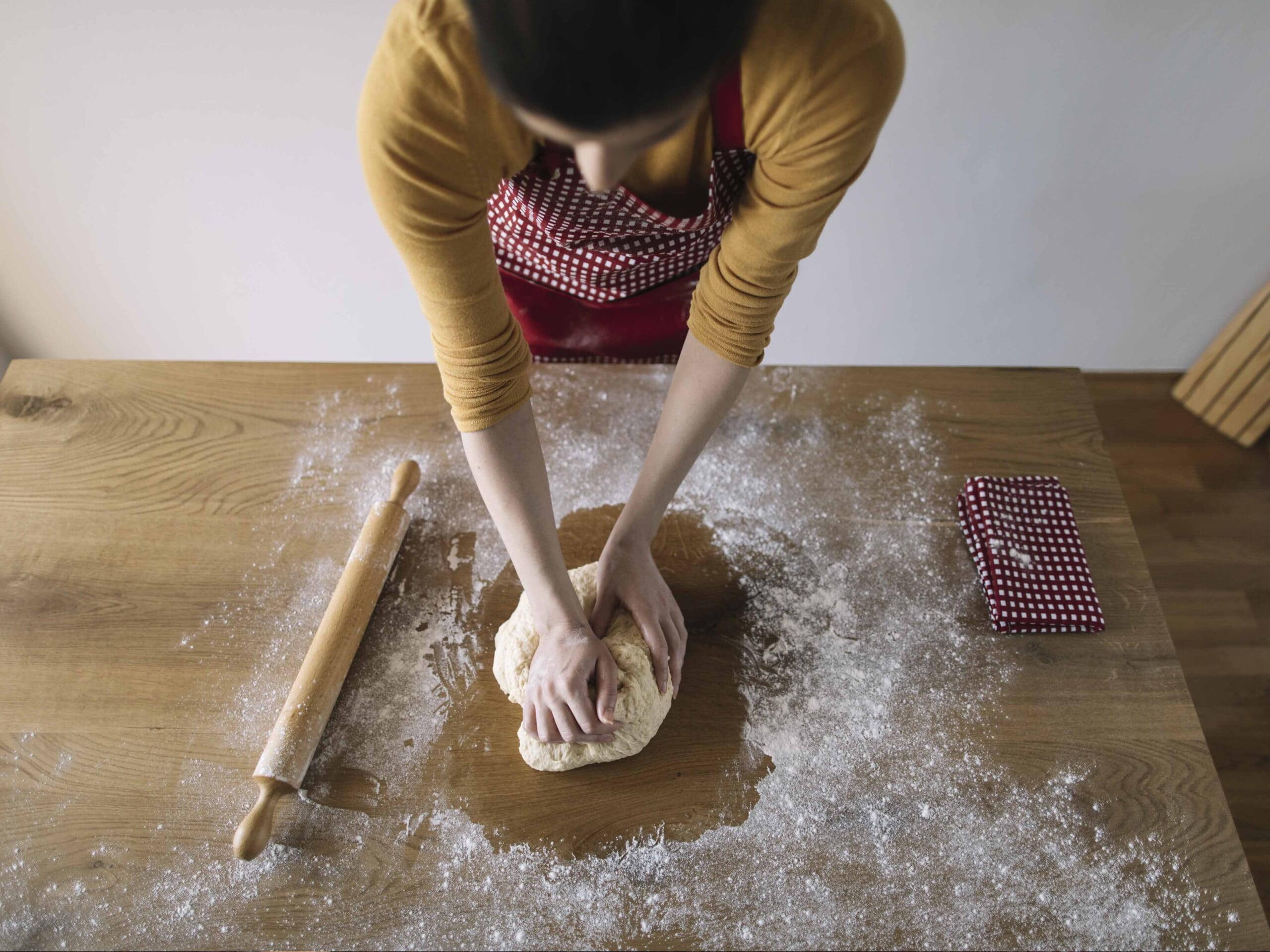 bread in a pot knead into a dough