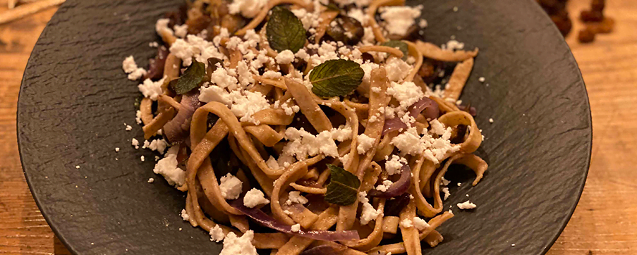 Arabic inspired pasta with eggplant and mint