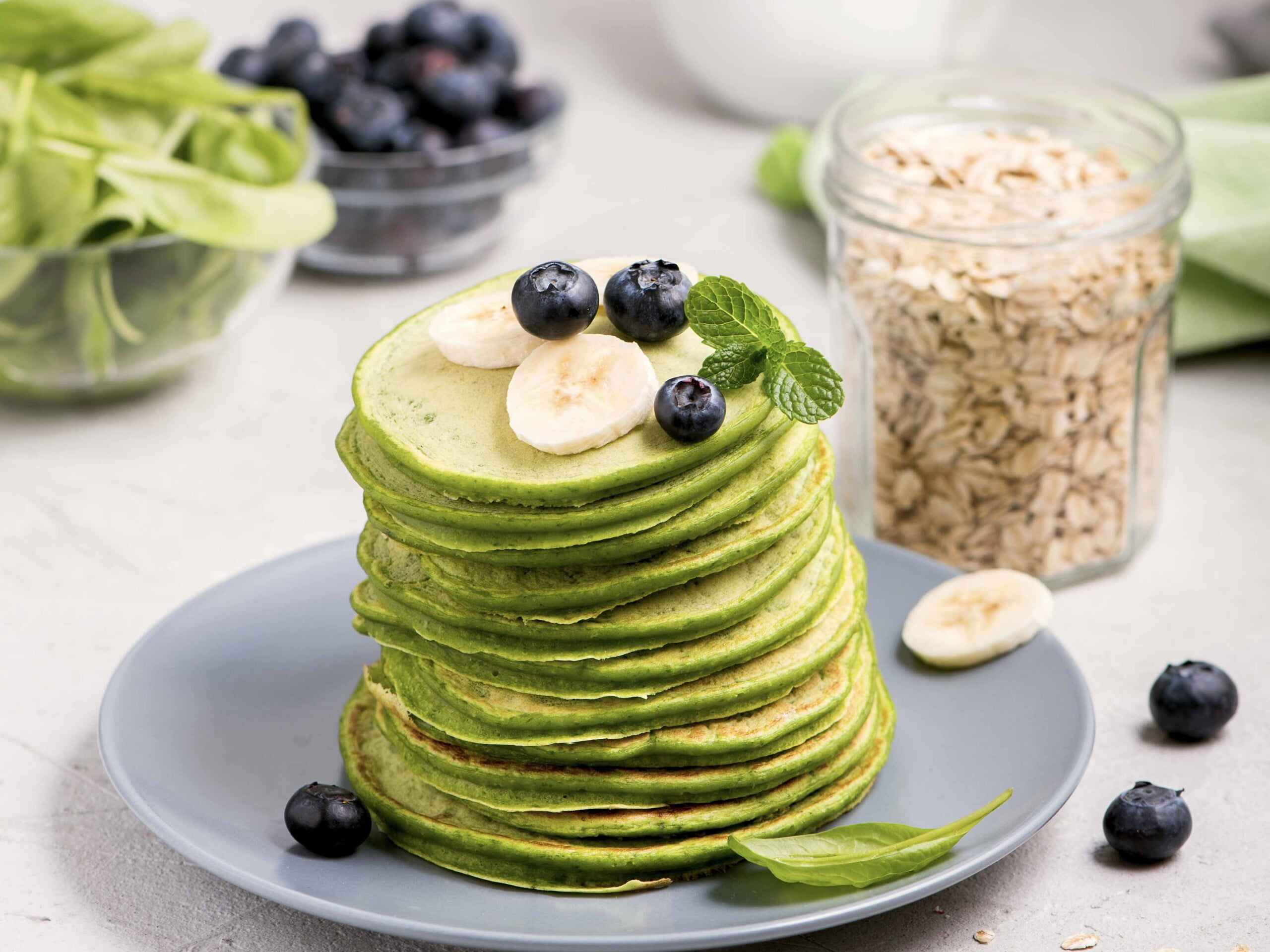 Green healthy spinach pancakes
