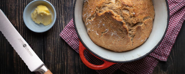 bread in a pot with fvr knife