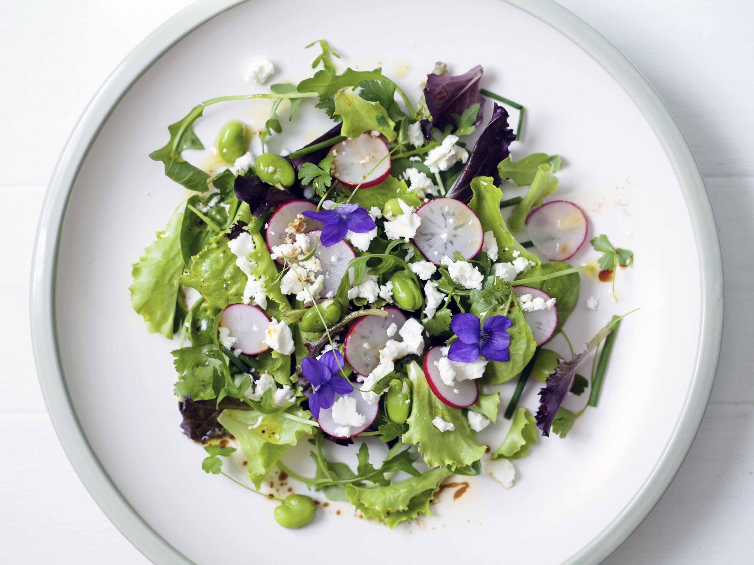 Spring salad with violets
