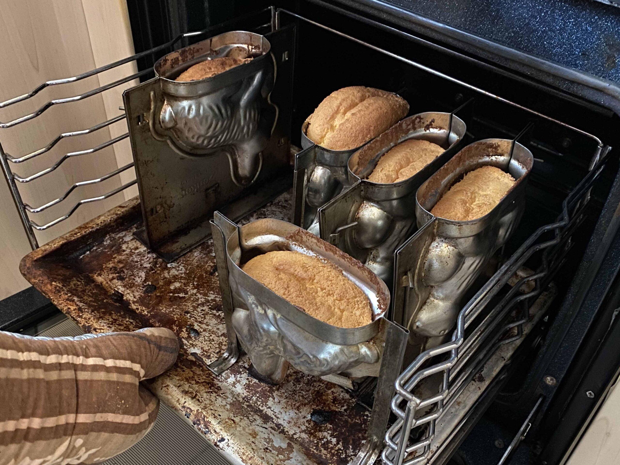 easter bunny eggnog cake baking in oven