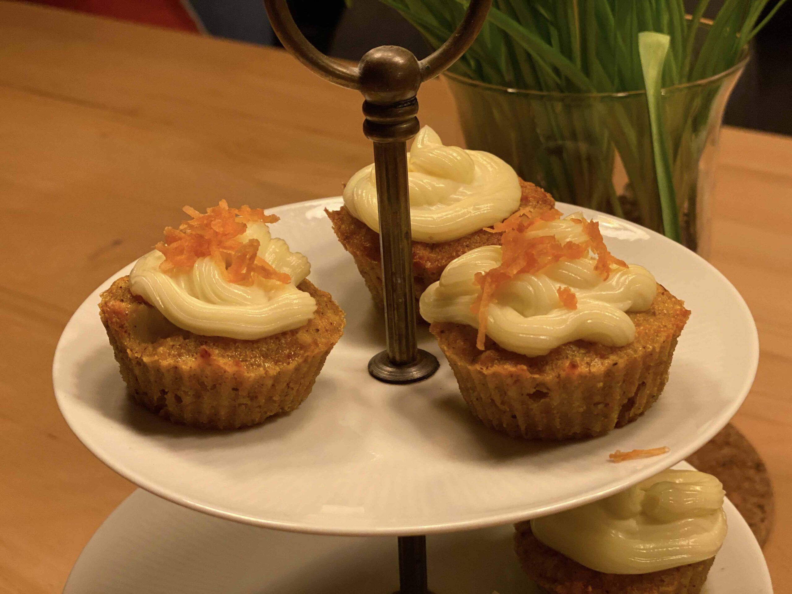 Carrot Cupcakes on Etagere